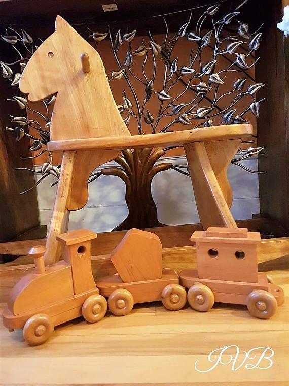 Vintage push toy train wooden train vintage wood train