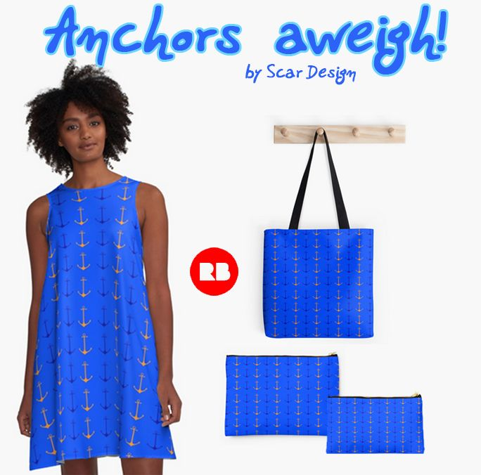"""Anchors aweigh"" Women's Summer Set by Scar Design.  #summer  #anchorsaweigh #summerdress #summer2017 #dress #fashion #giftsforher #navy #anchors #anchorsdress #navydress #sailing #pouch #totebag #summerpouch #summerbag #redbubble #scardesign"