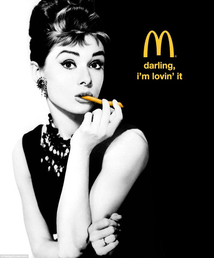 Breakfast at Mcdonald's: Another designer took this famous image of Audrey and replaced her long cigarette holder with french fry