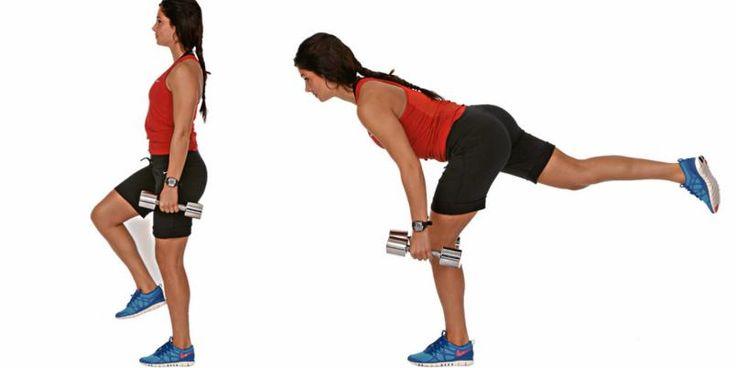 Ettbeins markløft Du trener: Rumpe, bakside lår, korsrygg og balanse. Slik gjør du: Stå med strak kropp, litt bøy i kneet du står på, og manualer i hendene. Bøy deg langt fremover med strak rygg og strekk det frie beinet ut bak deg. La hendene falle rett ned. Fokuser på at kraften kommer fra rumpa og bakside lår. Rett deg opp igjen og gjenta. Repetisjoner: 10–15 på hvert bein. Lettere variant: Vanlige strake markløft med begge beina i bakken.