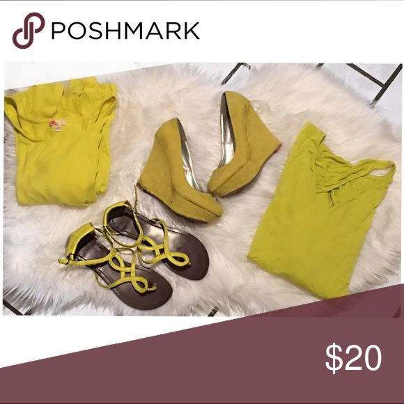 🍋 Yellow Bundle 🍋 • pair of 8 1/2 wedges ( need cleaning ) not branded • pair of used sandals from Charlotte Russe still in good condition  •  yellow batwing top size M/L (stretchy )  • forever 21 cotton dress size L can fit a medium because it's stretchy  🍋 super cool bundle for those who are trying to brighten there closet 🍋 ASOS Shoes