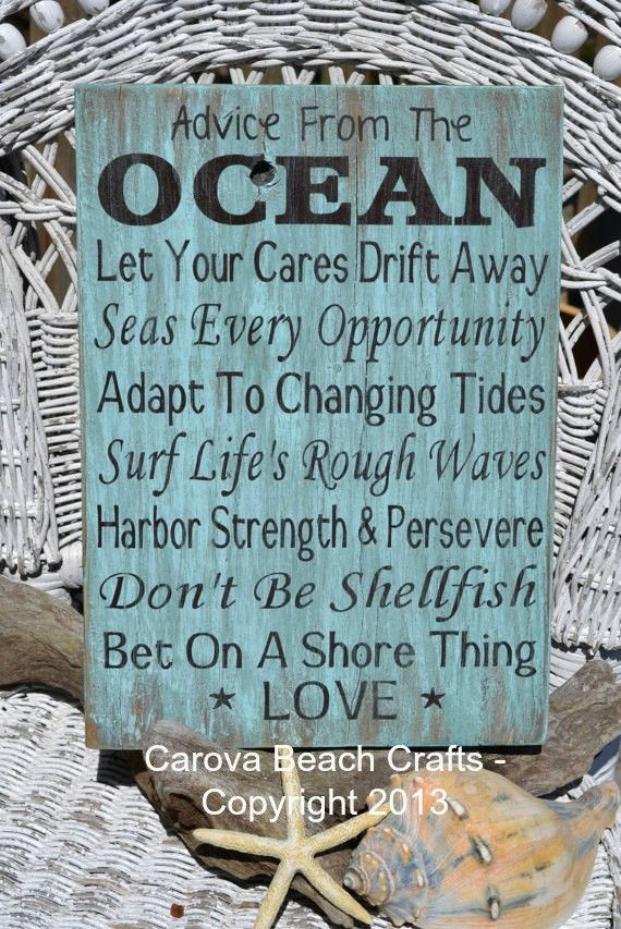 Advice From Ocean Handpainted Beach Sign Quotes Sayings Beach Wedding Décor Coastal Cottage Teal Sage Mint Green