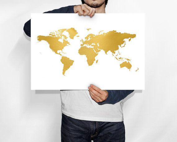 Gouden wereldkaart wereld kaart goud, wereld kaart poster, kaart wereldkunst, goud folie print, goud folie kunst aan de muur, de kaart van de wereld van goud folie, afdrukbare kaart