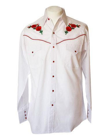 Ely White Rose Embroidered Western Shirt – Bronco Bill's  http://broncobills.co.uk/collections/brand-new/products/ely-white-rose-embroidered-western-shirt