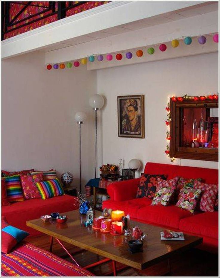 Living Room , Lively Mexican Style Living Room : Mexican Style Living Room With Red Seating And Colorful Pillows And Round Floor Lamp And…