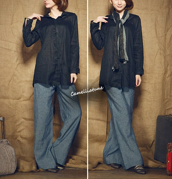 women's black shirt / linen longsleeve tunic top por camelliatune