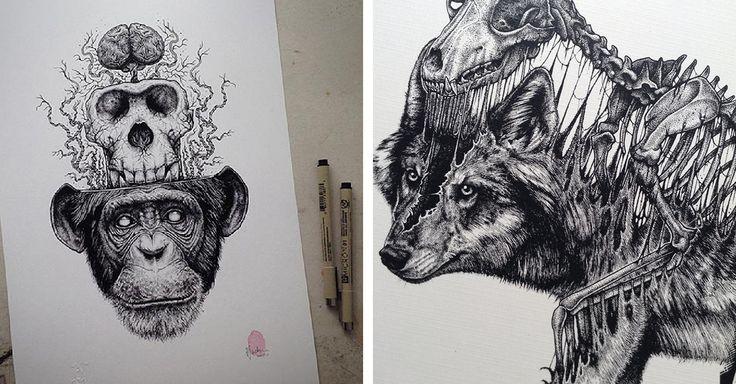 El ilustrador de Toronto, Paul Jackson diseñó una serie de dibujos de distintos animales que se despegan de sus esqueletos hechos a lápiz y tinta.