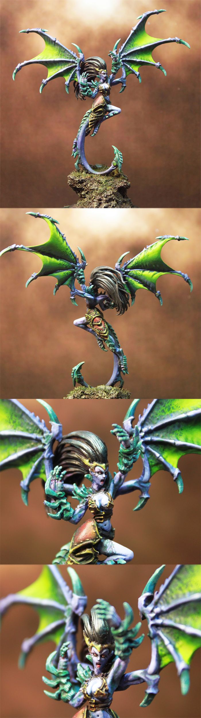 Absylonia, Daughter of Everblight Conversion - Awesome head & hair replacement. Uses Witch Alves from War Machine.