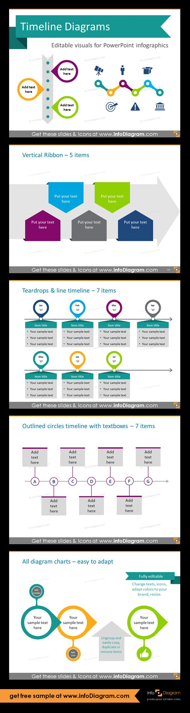 Template slides for Timeline diagrams and Time infographics. Editable PowerPoint graphics for showing history, agenda, linear process flow charts, project timelines, planning phases and roadmaps by modern infographics. Vertical ribbon, teardrops and line, outlined circles timelines. Replace default tables and ordered lists with more visual timeline arrows. All icons and lists are fully editable, so you can adapt colors to you brand identity - example of editing.