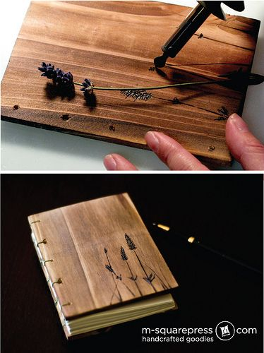 Lavender Pyrography Wooden Notebook. Just a set of very nice photos on Flickr... BUT it does show you a very simple tip that a lot of people forget to do. If your going to wood burn flowers or plants  you can get your fingers on the type you want to do (from your garden if you have one), then DO SO! That way your flowers, plants will be much more realistic. Using a reference in general is always helpful ;)