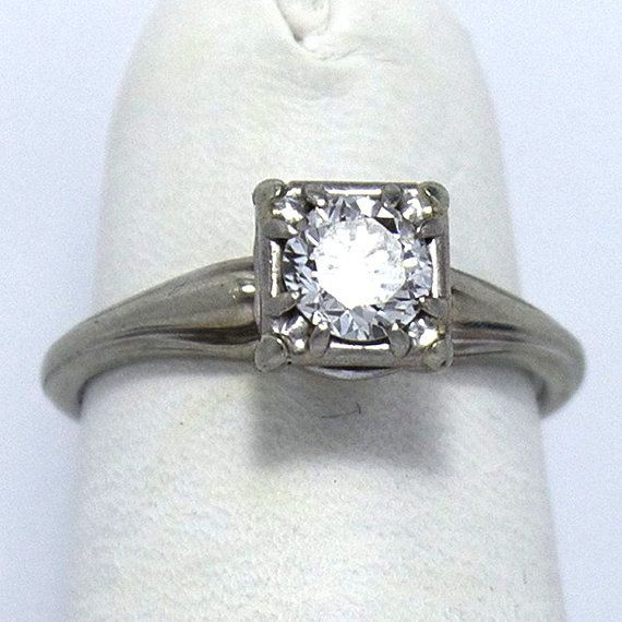 18KT Jabel Diamond Solitaire Ring by JMPierceJewelry on Etsy