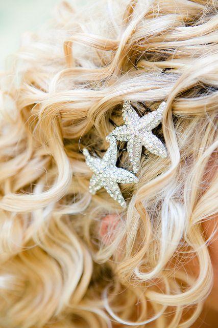 Starfish hair pins/brooches for a beach wedding.
