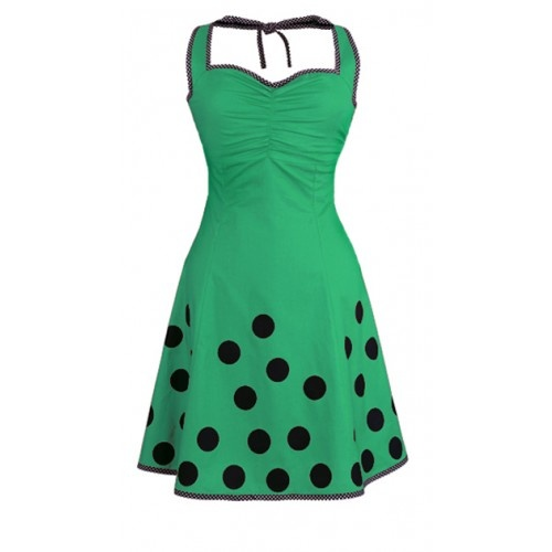Marie - Green  The dress is made from 100% organic, cotton [GOTS-certified] with an elasticated panel at the back and side zipper to make it more flexible.  The dress has with polka-dot borders. It is lined with a very comfortable bamboo-silk.