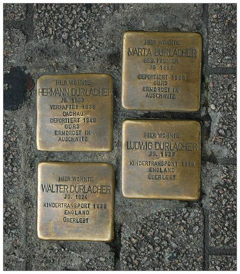 """""""A person is first forgotten when his name is forgotten"""" - Talmud. Stolpersteine are a way of ensuring that the names of those who were victims of the Nazis are not forgotten. """"STOLPERSTEIN, STONES FOR THE UNFORGOTTEN - http://www.bellaonline.com/articles/art179257.asp. These stones are in front of the Durlacher family home, Hermann and Marta and their sons Walter and Ludwig. Hermann and Marta were murdered in Auschwitz, their sons survived. The boys had been sent to England in 1939."""