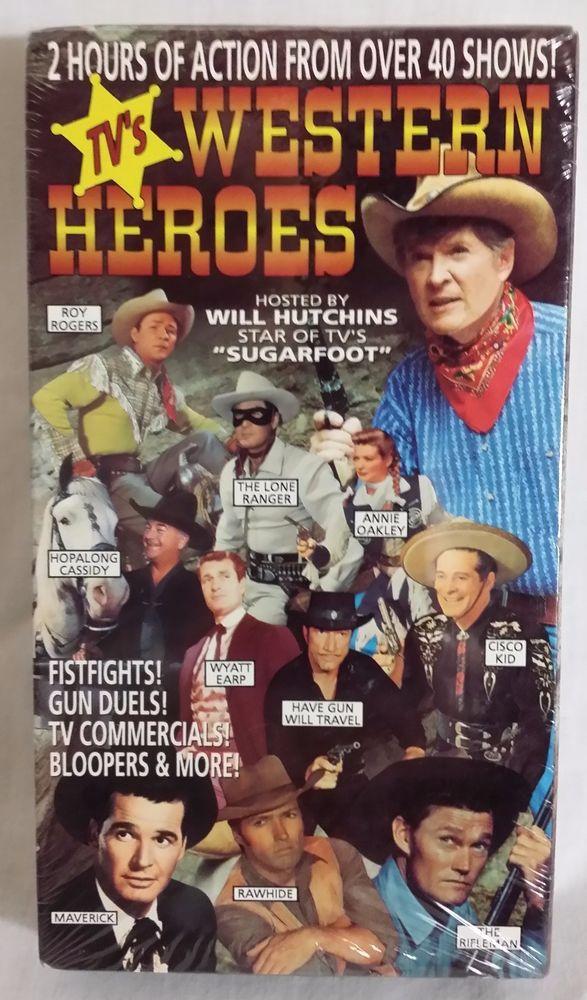 TV Western Heroes VHS - B&W / Color 2 Hrs - Lone Ranger / Wyatt Earp / Maverick #vintagephilly