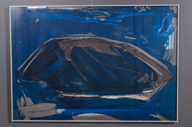Ulla Rantanen: Kivi meressä II, 1985, litografia, 68x97 cm, edition 90/100 - Huutokauppa Helander 05/2015