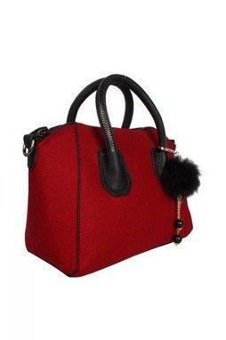 GrabMyLook  Wool Plain Color Handbag Doctor Boston Bag