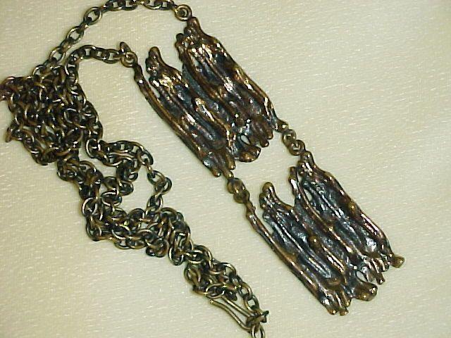 Pentti Sarpaneva Drippy Bronze Necklace Vintage 1960 -1970 Finland Modernist