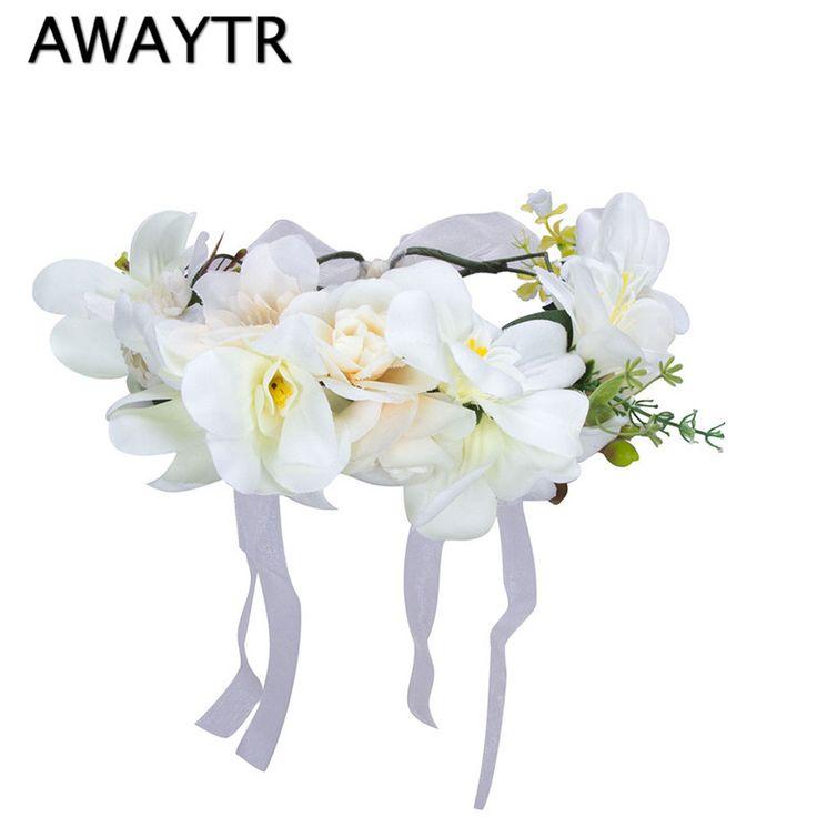 Flower Crown Headbands for Women 2017 New Spring Wedding Hair Flower Wreath Boho Bride White Adjustable Hair Garland