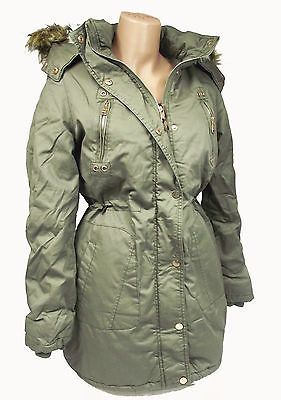 Damen Parka Winter Mantel Gefüttert Jacke Army Grün Fell Kaputze Baumwolle S M L in Kleidung & Accessoires, Damenmode, Jacken & Mäntel | eBay