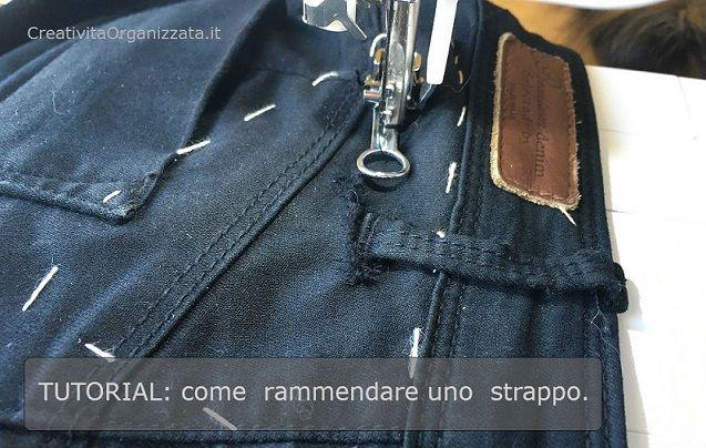 come rammendare pantaloni e jeans spiegazioni in italiano