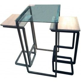 H_CONVERSATION composition with two stools and one table with metal frame cm. 125x51x110h