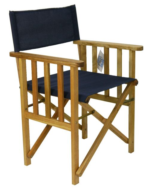Directors Outdoor Folding Deck Chair Timber Side Slats Polyester Navy