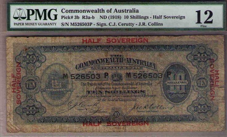 Australia R-3b. (1918) Cerutty/Collins - 10 ShillingsPMG 12 SCARCE NOTE