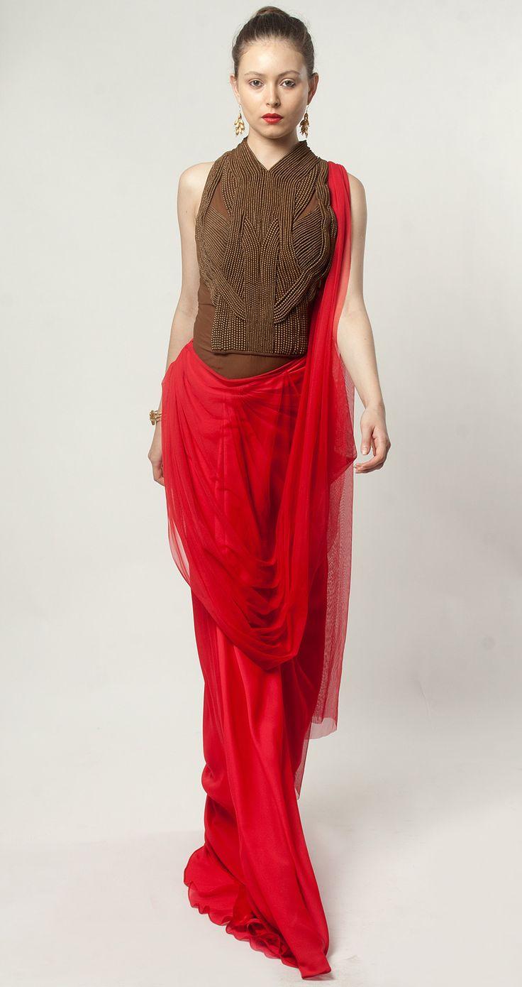 Red pre-draped sari by AMIT AGGARWAL. Shop at http://www.perniaspopupshop.com/lakme-fashion-week/amit-aggarwal/amit-aggarwal-red-pre-draped-sari-aalfw0813sa38.html