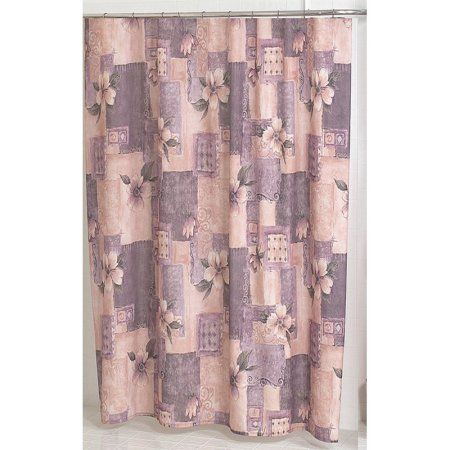 Carnation Home Fashions Magnolia Pink and Purple Victorian Fabric Shower Curtain