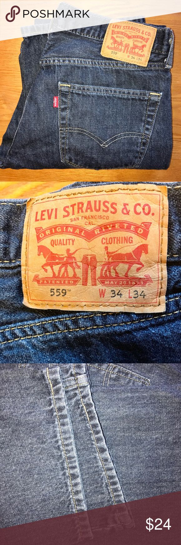 "Men's LEVI 559 Relaxed Straight Leg Jeans. 34x34 Men's LEVI 559 Relaxed Straight Leg Jeans.  Size 34x34 Nice medium colored wash for everyday wear. GUC- no holes, stains or damage noted   ""Levi's® 559™ Relaxed Straight Jeans are made for guys who like to be comfortable. They sit below the waist with extra room through thigh and a straight leg. Wear them with a henley shirt and your favorite sneakers. This pair has just the right amount of stretch in it for all-day comfort.""  FAST shipping…"