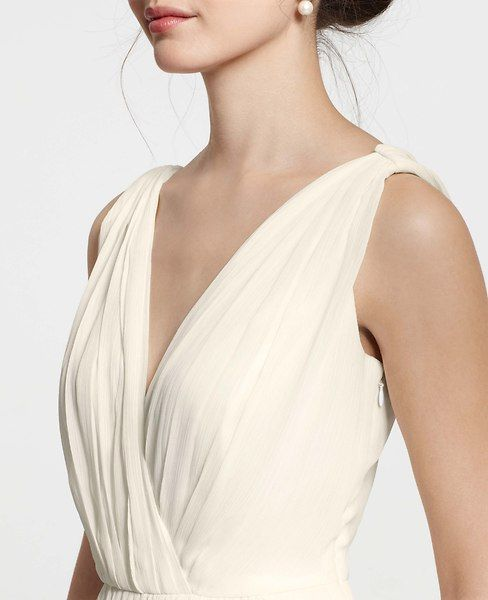 Petite Goddess V-Neck Wedding Dress | Ann Taylor