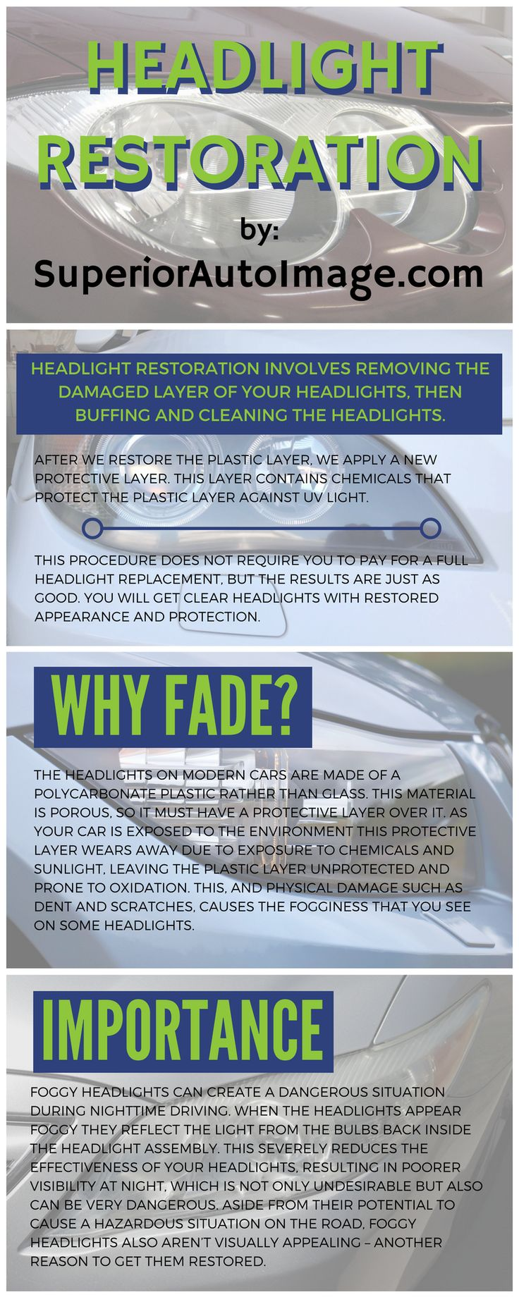 Headlight Restoration Service Infographic  It is common for your car's lights to fade over the years. This can diminish the effectiveness of your headlights, leading to lower visibility at night, and just doesn't look very good. Check out this infographic about headlight restoration and visit our page https://www.superiorautoimage.com/headlight-restoration-denver/ to learn more.