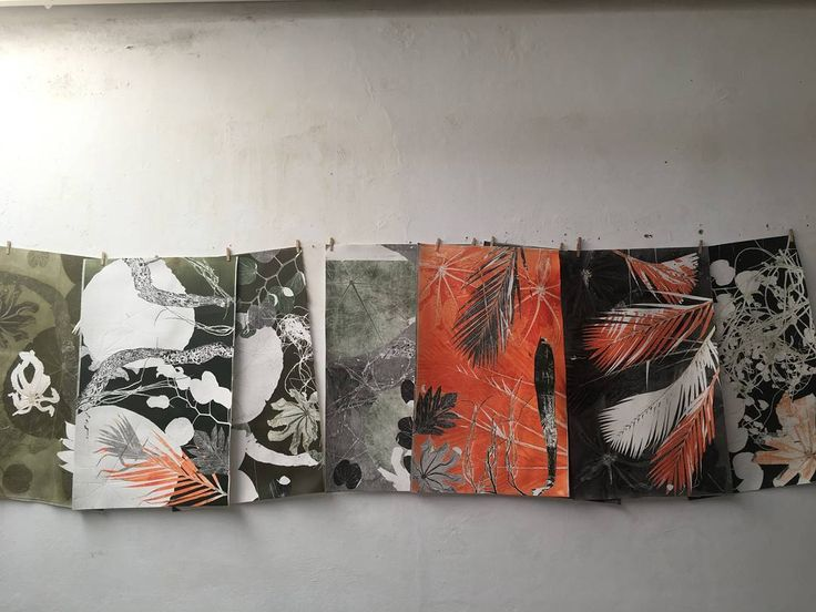 Monotipias secando no varal. Luiz Zerbini para UBU editora  @ubueditora