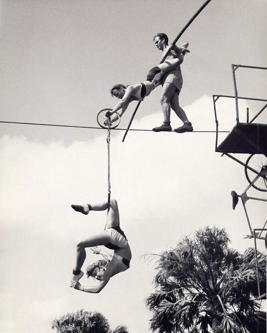 Vintage circus: 1950s acrobats