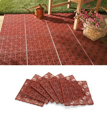 6Pc Interlocking Outdoor Patio Flooring Tile Set