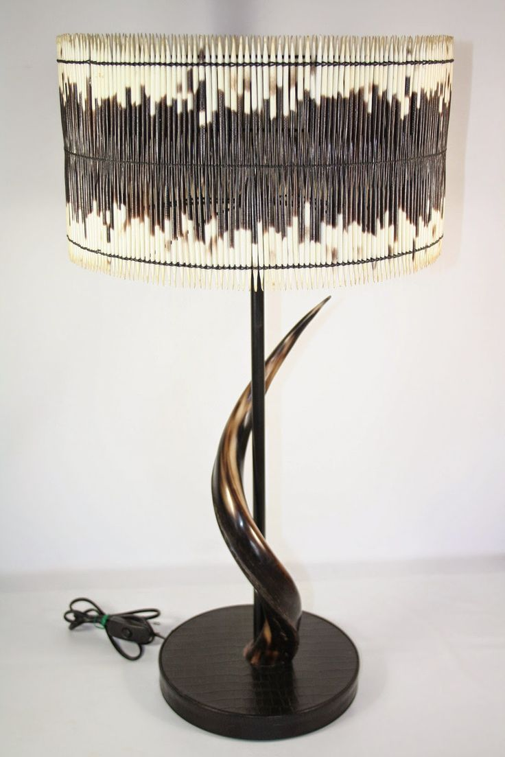 Table lamp drum shade natural polished kudu horn another talented artist joined our team and her table and bedside lamps are in several of south africa s
