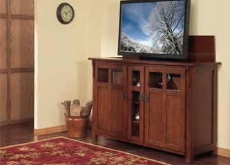 arts u0026 crafts and mission style tv lift cabinets