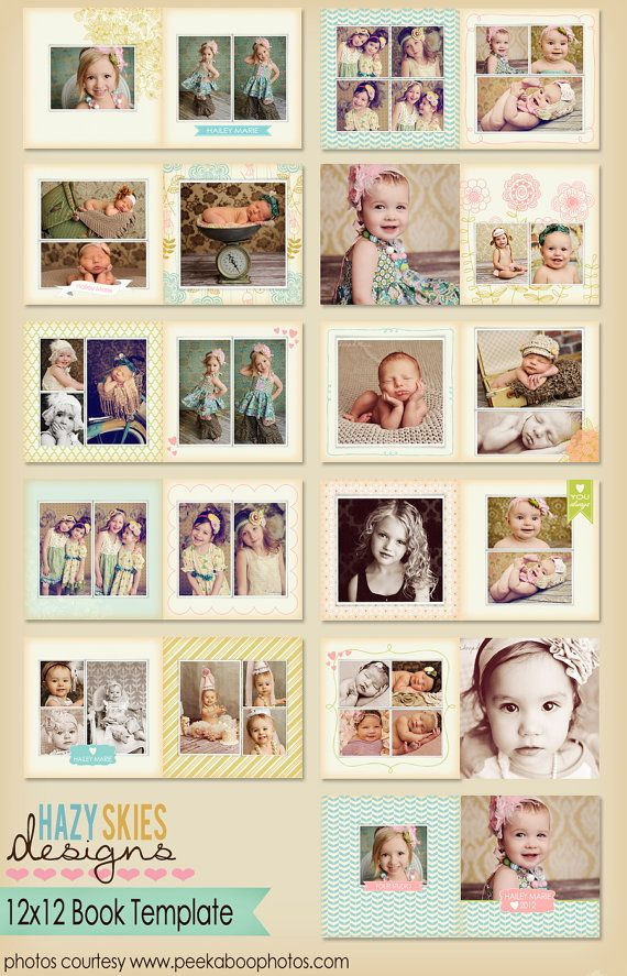 12x12 Album / Book template for photographers by hazyskiesdesigns, $35.00