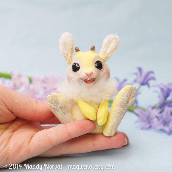 Posable Jackalope Bunny  Jackabunny  Daffodil by Magweno on Etsy