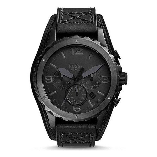 Fossil Nate Watch ($155) ❤ liked on Polyvore featuring men's fashion, men's jewelry, men's watches, men, accessories, men's accessories, watches, black, fossil mens watches and mens leather strap watches