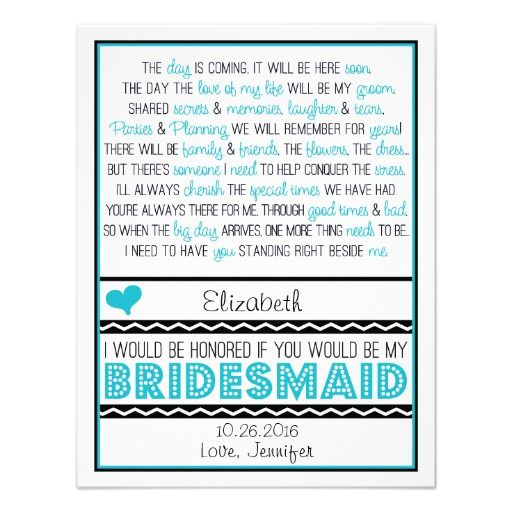 Will you be my Bridesmaid? Turquoise/Black Poem V2 Custom Announcement #wedding #invitations