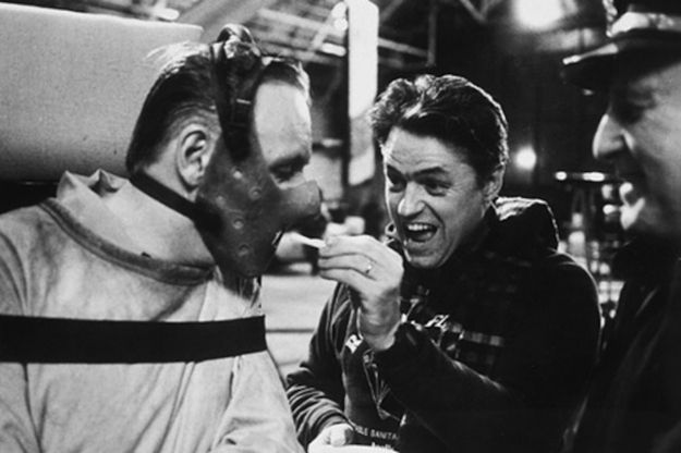 Even Hannibal Lector can't resist the temptation of a French fry.  Anthony Hopkins on set filming The Silence of the Lambs.