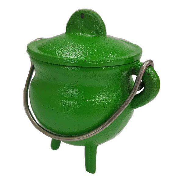 """Represent the element of Earth with this amazing Green Cast Iron Cauldron! This cauldron is perfect for holding your quarter candle for the element of earth, as well as incorporating the energies of green into your work! This colorful cauldron makes a perfect gift for teen witches, child witches, or anyone who loves green! This cauldron makes a great Samhain decoration! This cauldron measures 2 3/4"""" x 3"""" and has a plain surface. 