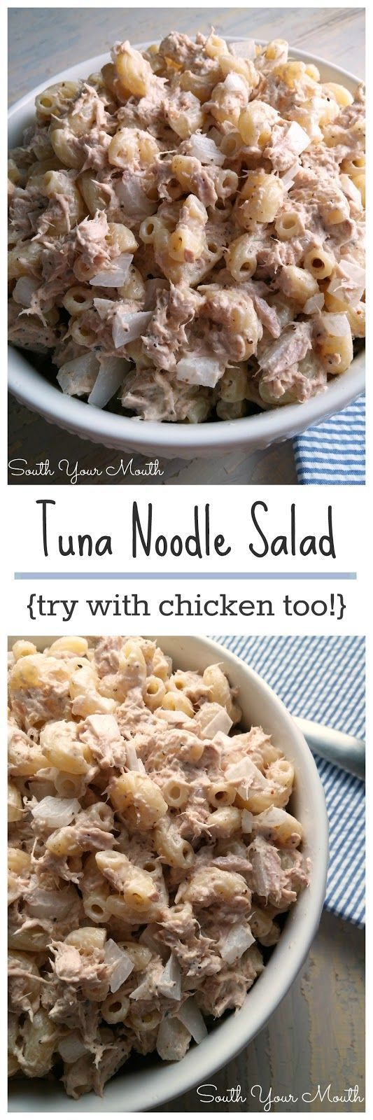 Tuna Noodle Salad! A basic, hearty recipe that can also be made with chicken! LOVE to take this to the beach, on picnics or just keep in the fridge for quick meals or hearty snacks.