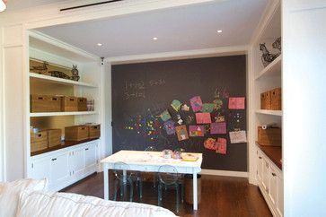 Definitely want a large chalkboard wall- with magnetic paint under it?