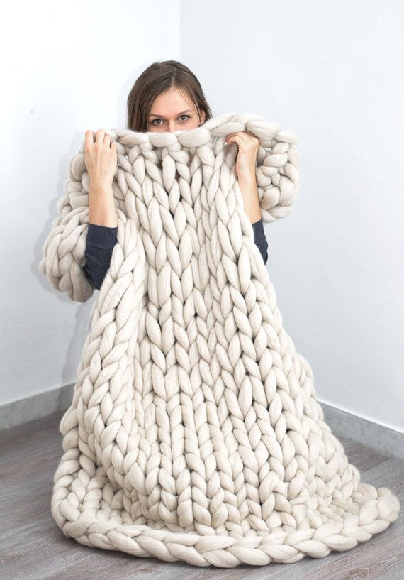 Klobige Decke. Gestrickte Decke. Merino Wolldecke. von bloisem