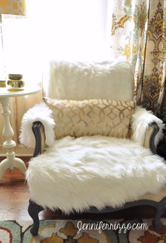 Easy To Make DIY Flokati Rug Chair Cover