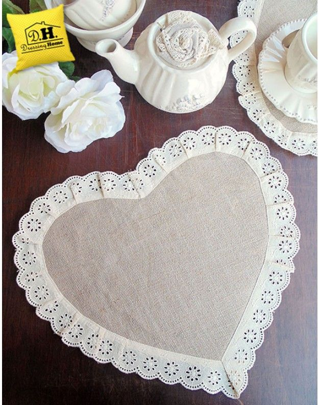 Tovaglietta americana cuore Shabby Chic Blanc Mariclo Joy Collection