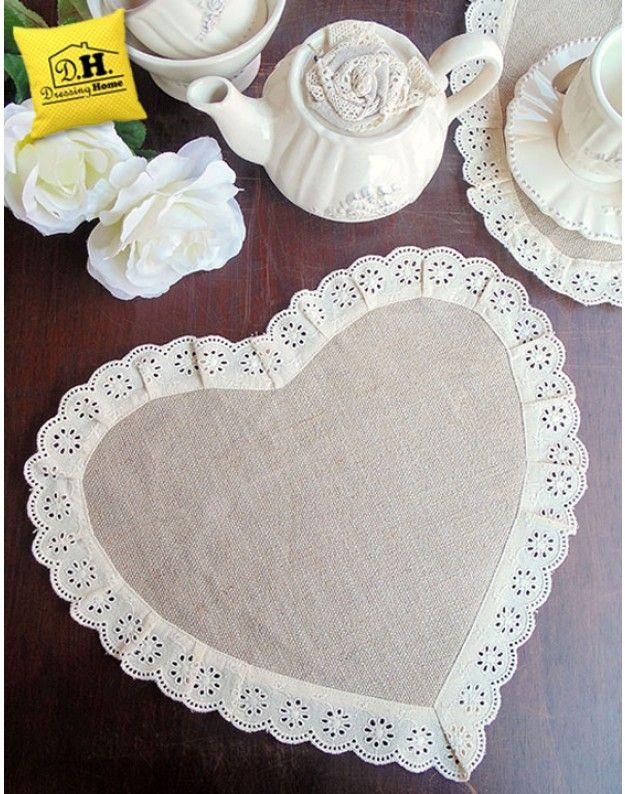 Tovaglietta americana cuore Shabby Chic Blanc Mariclo Joy Collection